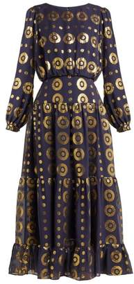 Saloni Isabel Tiered Fil Coupe Silk Blend Dress - Womens - Navy Gold