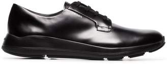 Prada black Fly leather lace-up sneakers
