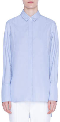 Akris Punto Striped Button-Front Tunic Blouse
