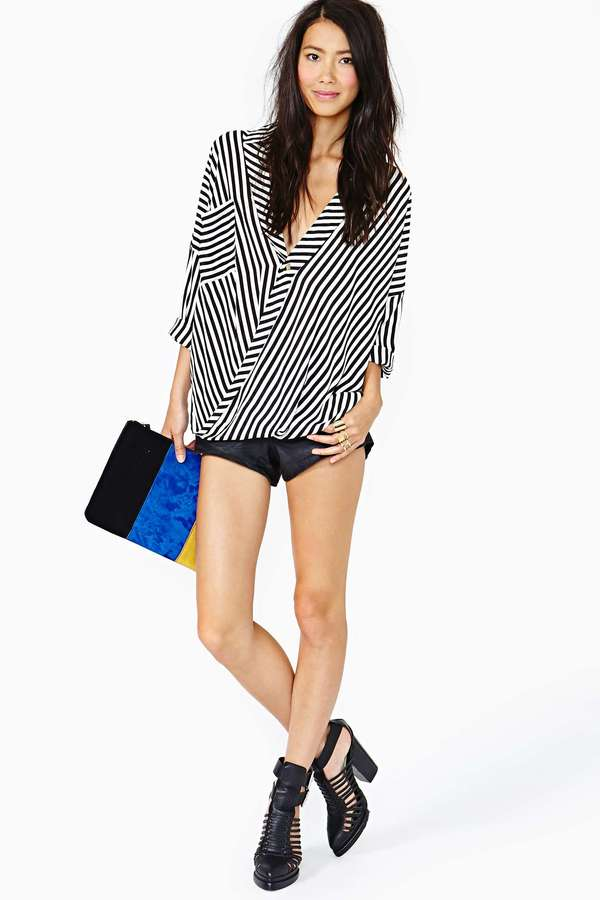 Nasty Gal Twisted Stripes Blouse