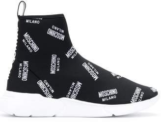 Moschino all-over logo print sock hi-tops