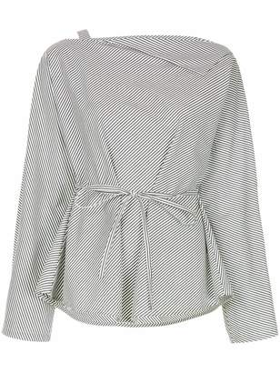 Taylor striped belted blouse