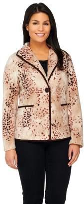 Susan Graver Printed Polar Fleece Button Front Jacket w/ Pockets