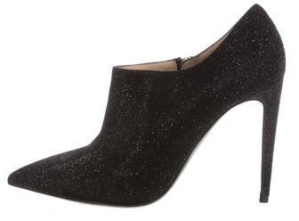 Ralph Lauren Glitter-Embellished Textured Leather Booties