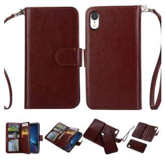"HLC 2 in 1 Leather Wallet Case with 9 Credit Card Slots and Removable Back Cover for iPhone XR (6.1"") -Brown"