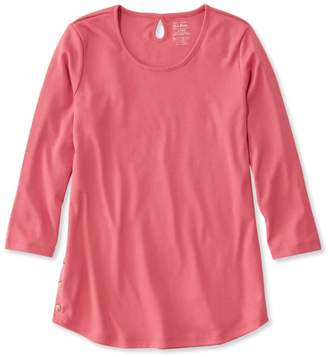 L.L. Bean L.L.Bean Women's Pima Cotton Tee, Three-Quarter-Sleeve Side-Button Tunic