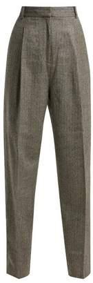 Tibi - High Rise Herringbone Wool Blend Trousers - Womens - Grey