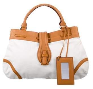 Balenciaga Leather-Trimmed Canvas Tote White Leather-Trimmed Canvas Tote
