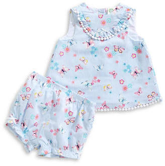 Little Me Little Girl's Butterfly-Print Tunic and Bloomers Set