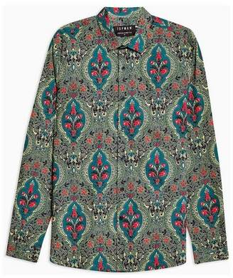 Topman Mens Green Carpet Floral Stretch Skinny Smart Shirt