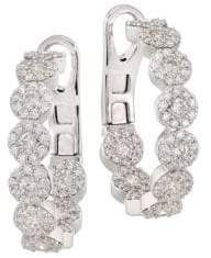 Hearts On Fire Fulfillment 18K White Gold, Round Diamond& Crystal Hoop Earrings