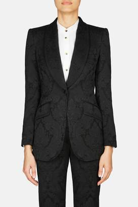 Dolce & Gabbana Dolce Gabbana Floral Jacquard Blazer - Black