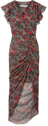 Veronica Beard Cecile Ruffled Floral-print Silk-chiffon Maxi Dress - Charcoal