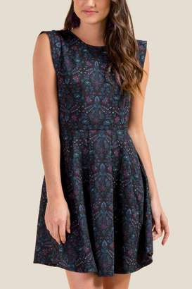 francesca's Freya Floral Skater Dress - Black