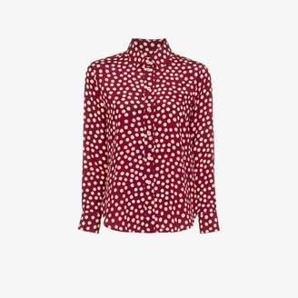 Saint Laurent polka dot print silk blouse