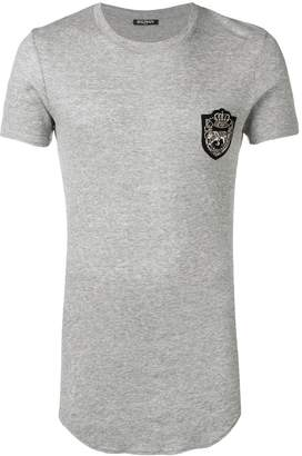 Balmain beaded patch ribbed T-shirt