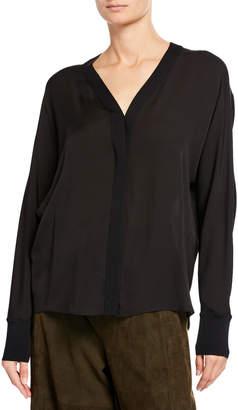 Vince Rib-Trim Silk V-Neck Shirt
