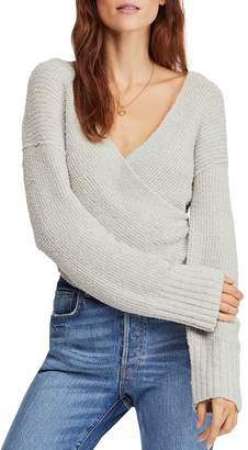 Free People Ribbed Faux-Wrap Sweater