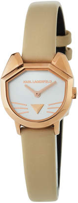 Karl Lagerfeld 26mm Camille Cat Watch w/ Leather Strap