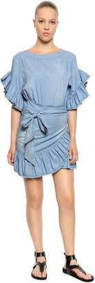 Etoile Isabel Marant Stretch Cotton Chambray Ruffled Dress