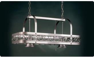 Hi-Lite Odysee Rectangular Hanging Pot Rack with 2 Lights Accent