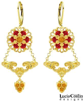 Swarovski 24K Gold Plated over .925 Sterling Silver Flower Earrings by Lucia Costin with Fancy Elements, Crystals, 6 Petal Flowers and Lovely Charms; Handmade in USA