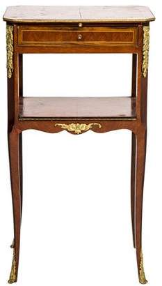 Brass-Mounted Bedside Table