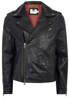 Topman Mens Black Leather Biker Jacket
