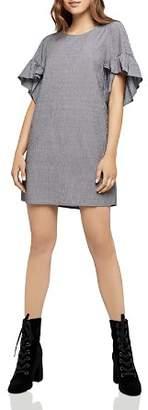 BCBGeneration Ruffle-Sleeve Pinstriped Shift Dress