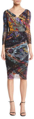 Fuzzi 3/4-Sleeve Printed Body-Con Tulle Dress
