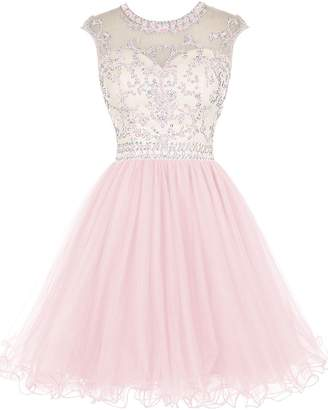 Cdress Tulle Short Homecoming Dresses Beaded Cocktail Gowns Junior Prom Dress US