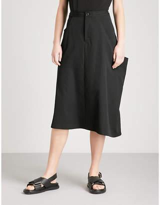 Y's Ys Draped-panel high-rise wool skirt