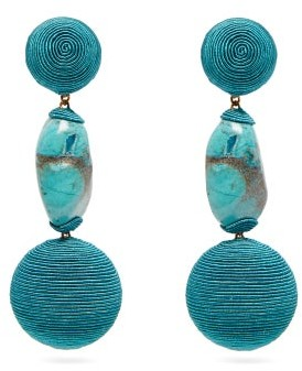 Rebecca De Ravenel Bon Bon Cord And Stone Clip Earrings - Womens - Blue