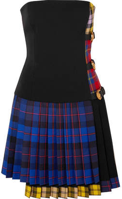 Versace Buckled Paneled Tartan Wool-blend Mini Dress - Black