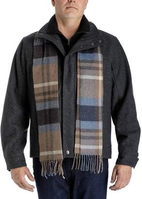 London Fog Tower By Men's Tower by Wool-Blend Hipster Jacket with Plaid Scarf