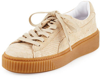 Puma Snake-Embossed Suede Sneaker $120 thestylecure.com