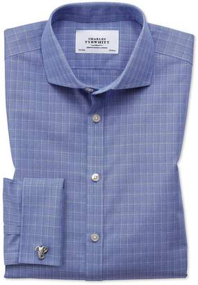 Charles Tyrwhitt Extra Slim Fit Spread Collar Non-Iron Prince Of Wales Blue Cotton Dress Shirt French Cuff Size 15/34