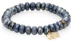 Sydney Evan Small Elephant Diamond, Dark Grey Quartz & 14K Yellow Gold Beaded Stretch Bracelet