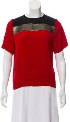 Diane von Furstenberg Striped Short Sleeve Blouse