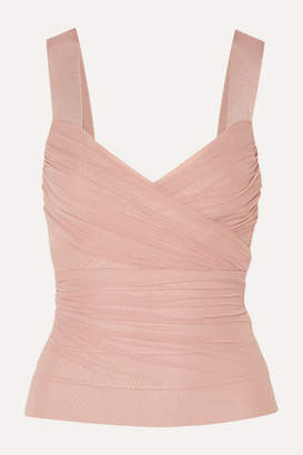 Herve Leger Wrap-effect Bandage And Ruched Tulle Top - Blush