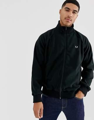 Fred Perry full zip fleece track jacket sweat in black