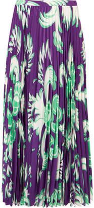 Valentino Pleated Printed Silk-crepe Midi Skirt - Purple