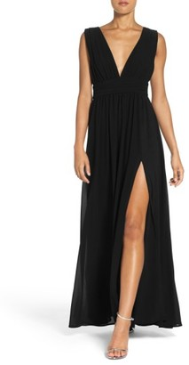 Women's Lulus Plunging V-Neck Chiffon Gown $84 thestylecure.com