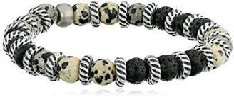 Ettika Lava Beads and Dalmatian Semi Precious Stone Stretch Men's Bracelet