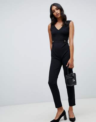 Lipsy V neck jumpsuit with button detail in black