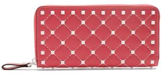 Valentino Free Rockstud Leather Continental Wallet - Womens - Pink White