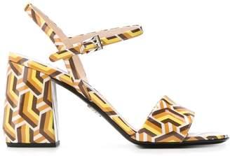 Prada leather geometric sandals