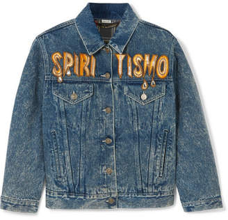 Gucci Oversized Embellished Appliquéd Denim Jacket - Indigo