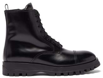 Prada Lace Up Leather Boots - Womens - Black