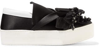 No.21 No. 21 Embellished Leather-trimmed Satin Slip-on Sneakers